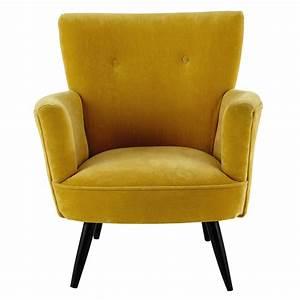 Fauteuil En Velours : fauteuil en velours jaune sao paulo maisons du monde ~ Dode.kayakingforconservation.com Idées de Décoration