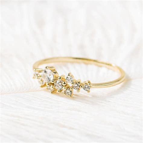 2019 simple cubic zirconia crystal thin ring gold engagement rings for women boho fashion