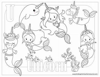 Kindergarten Coloring Pages Preschool Printable Unicorn Activities