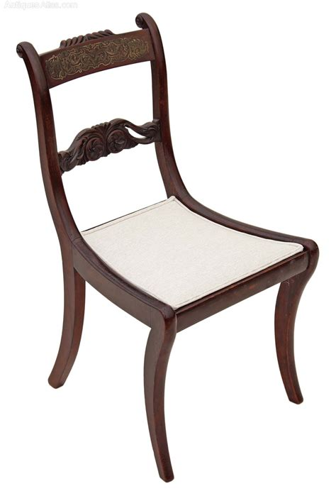 set of 4 regency brass faux rosewood dining chairs