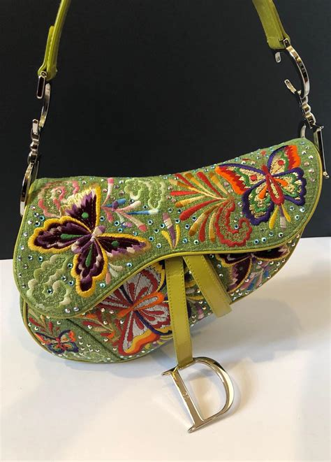 dior saddle bag  embroidered leather linen fabric limited edition lime green butterflies