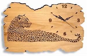 Pyrogravure Sur Bois Professionnel : scroll saw patterns clocks other clocks watchful leopard clock ~ Nature-et-papiers.com Idées de Décoration