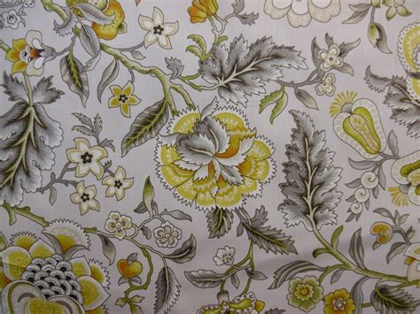 Floral Drapery Fabric by Waverly Imperial Dress Grey Bty Floral Drapery Fabric 100