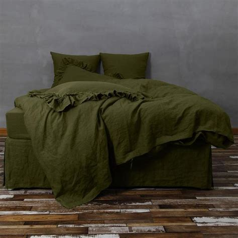 bespoke green linen quilt cover by linenshed