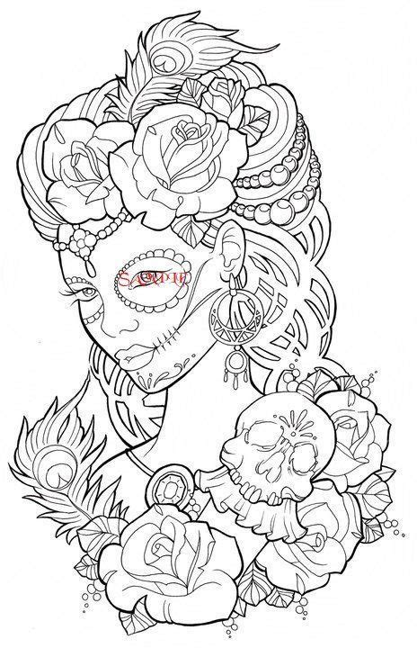 Gothic Lady with Skulls Single Colour PDF Cross Stitch