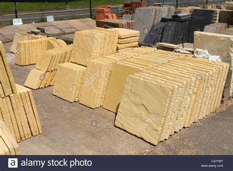 paving slabs for sale in a garden centre stock photo