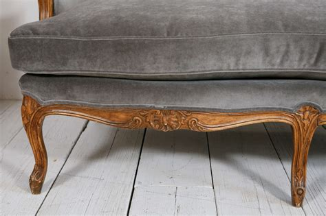 canapé louis 15 louis xv style settee canape in grey velvet at 1stdibs