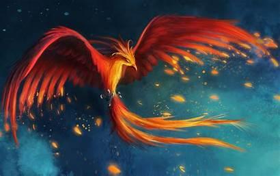 Phoenix Fire Fantasy Wings Flying Birds Digital
