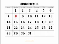 Free Download Printable October 2018 Calendar, large font