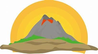 Clipart Volcano Drawing Landscape Simple Lava Transparent