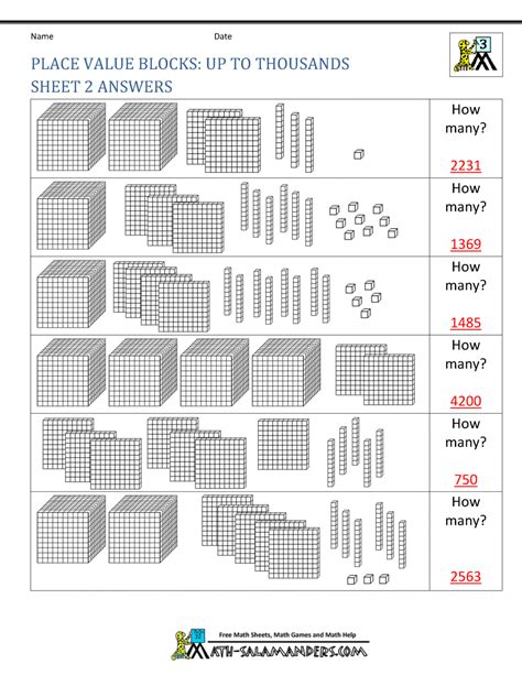 free math place value worksheets 3rd grade