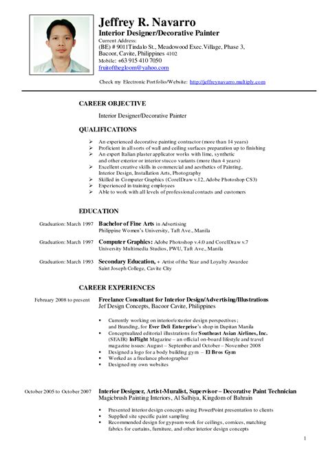 Resume Format Sle For Application Philippines by Resume Sle For Philippines Resume Resumes Design