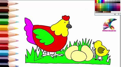 belajar mewarnai induk anak ayam dan telor learning