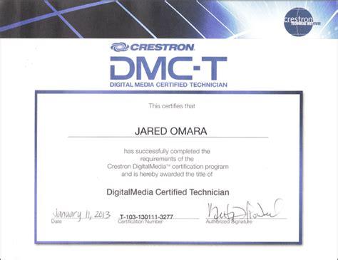 digital media certificate crestron digital media certified technician certificate