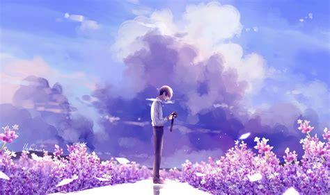 Anime Flower Wallpaper - animeguy animemanga clouds digital flowers illustration