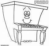 Piano Coloring Pages Cartoon Drawing Happy Print Getdrawings Comments sketch template