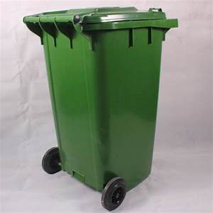 Sturdy, Refuse, Green, 240ltr, Plastic, Rubbish, Bins, With, Two, Rubber, Wheels, Hdpe