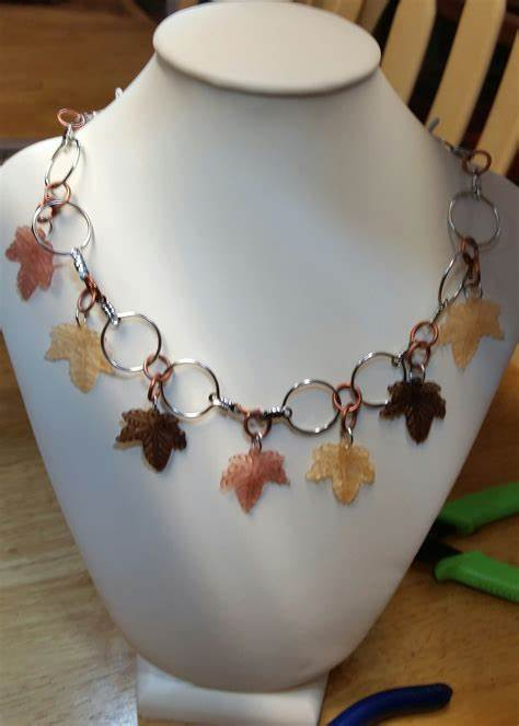 Acrylic Leaf Necklace - Jewelry Making Journal