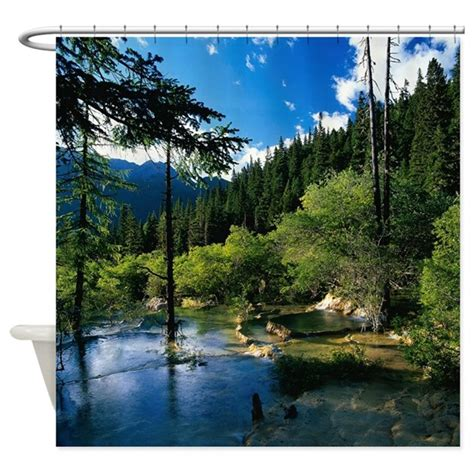 lake shower curtain mountain forest lake shower curtain by showercurtainshop
