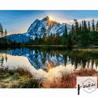 Rocky Mountain Painting Landscape Paintings Numbers Sunrise