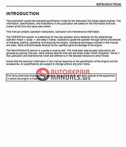 Mitsubishi Diesel Enginessq-series Operation Manual