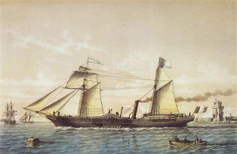 Barco De Vapor Sirius by Paddle Steamer Quot Ville De Paris Quot A Painting By Louis Le