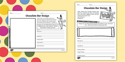 Chocolate Bar Design Task To Support Teaching On Charlie And The Chocolate