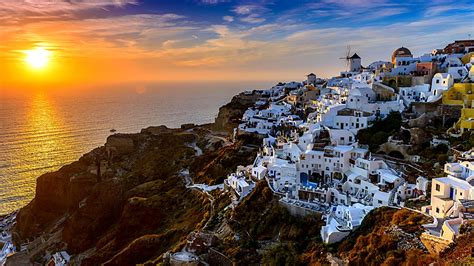 santorini island  greece hd wallpaper wallpaper studio
