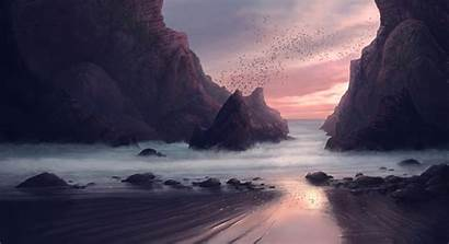 Digital Painting 4k Beach Wallpapers Seaside Nature