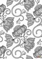 Coloring Pattern Lotus Colouring Printable Flowers Patterns Sheets Abstract Flower Patterned Adults Supercoloring Embroidery Gcssi Categories sketch template