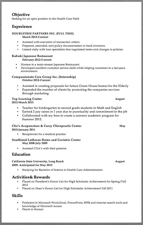 Resume For Field by Healthcare Field Resume Sles Objective Seeking For An