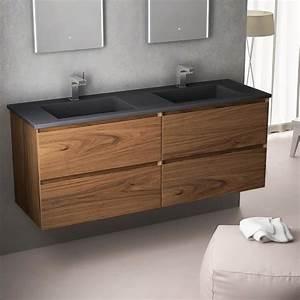 cordoue meuble salle de bain noyer 141 cm double vasque With salle de bain design avec meuble salle de bain vasque pierre naturelle