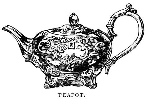 Teapot Clip Art, Black And White Graphics, Vintage Tea Pot