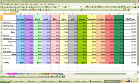 profit and loss excel spreadsheet ebay profit loss excel spreadsheet