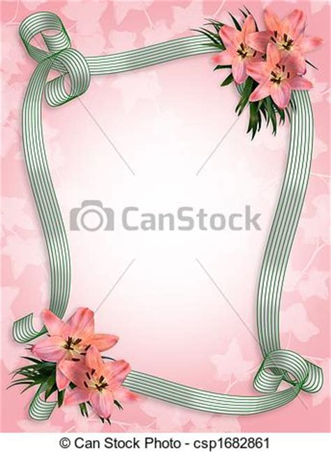 wedding invitation lilies border pink lily flowers