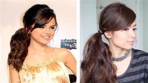 Selena Gomez Tousled Ponytail Hairstyle For Medium Long