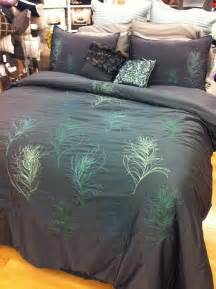 details about nicole miller feathers comforter set cal king blue peacock feather pillows nip