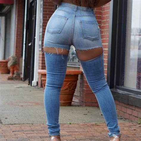 Sexy Ripped Butt Jeans For Women Ass Hole Skinny Jeans