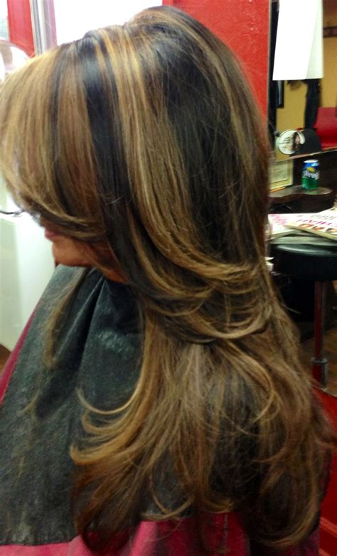 With Black Hair by Hair With Light And Caramel Highlights My Hairart