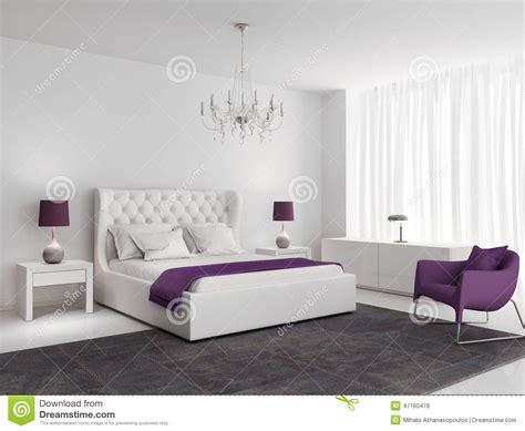 white luxury bedroom  purple armchair stock photo