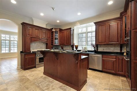 Kitchen Floor Ideas With Cherry Cabinets by Pictures Of Kitchens Traditional Medium Wood Kitchens