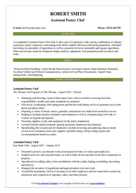 Resume Sle For Chef by Assistant Pastry Chef Resume Sles Qwikresume