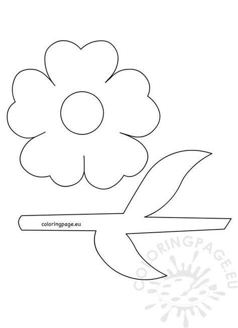 flower  stem  leaves template coloring page