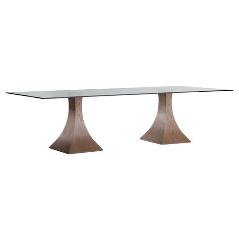 black table base for glass top furniture modern wooden double tulip pedestal dining