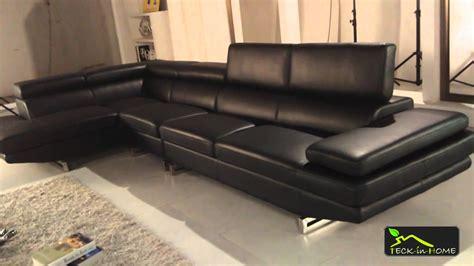 canap 233 d angle en cuir noir 4 places avec m 233 ridienne d angle