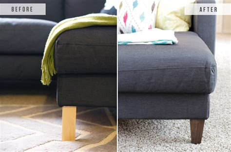 ikea hack replacing legs   ikea couch  blissful bee