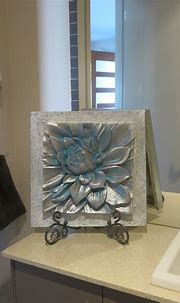 Lotus flower design in muted shades of silvery blue   3d ...