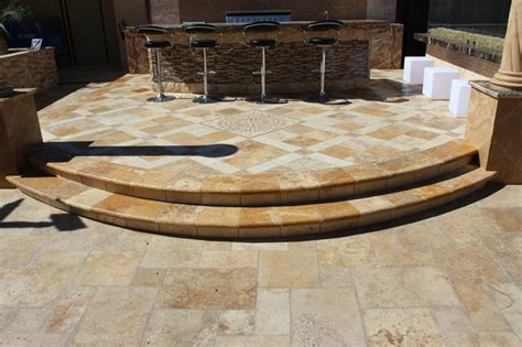 tuscay porcini travertine tile bbq area traditional