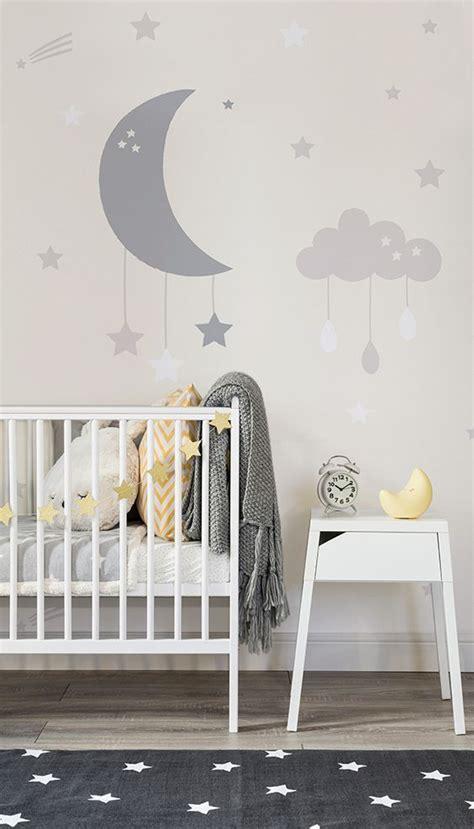 baby clouds  moon wall mural modern nursery