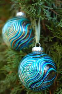 2 peacock feather ornaments hand painted glass christmas